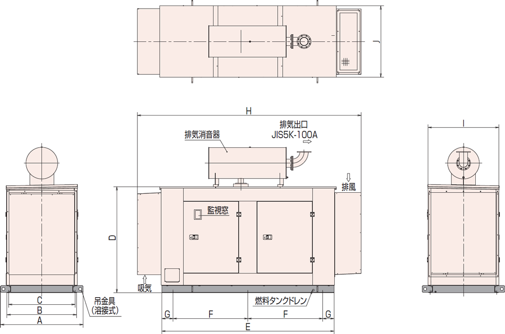 非常用発電機AP155D1屋内低騒音タイプ(約85dB(A)at1mレベル)