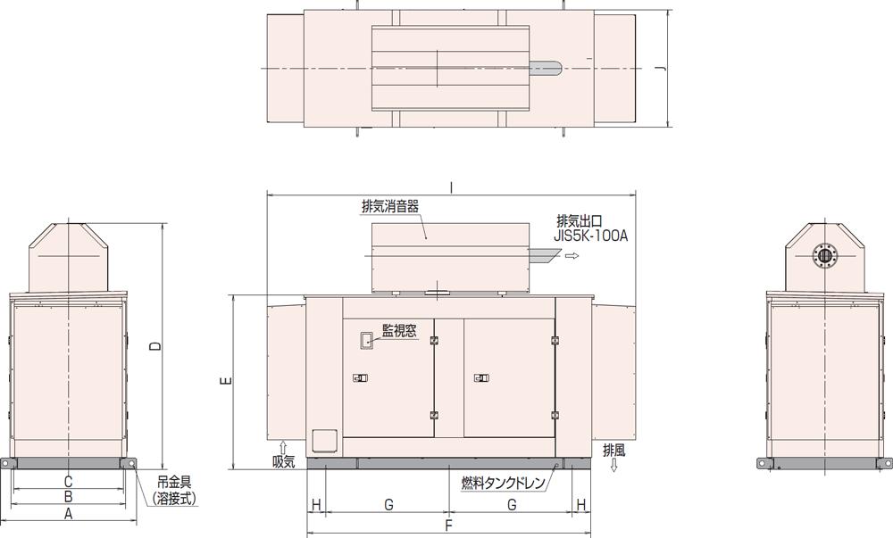 非常用発電機AP155D1屋外低騒音タイプ(約85dB(A)at1mレベル)