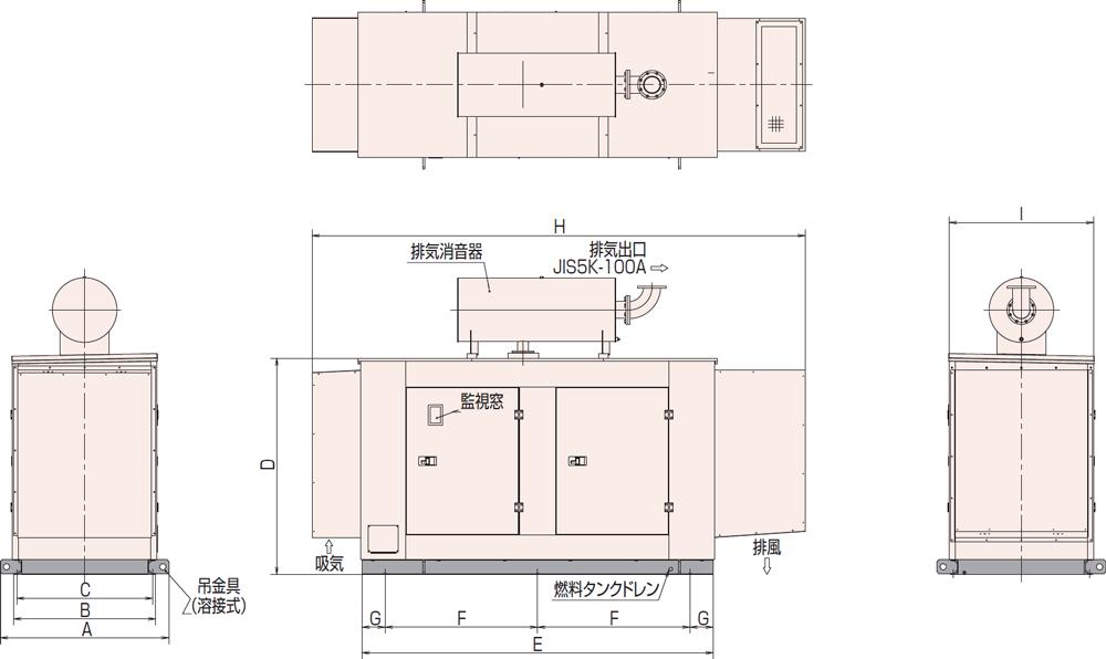 非常用発電機AP155D1屋内超低騒音タイプ(約75dB(A)at1mレベル)
