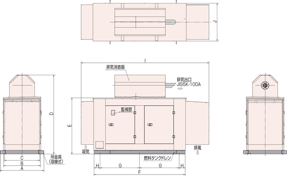 非常用発電機AP155D1屋外超低騒音タイプ(約75dB(A)at1mレベル)