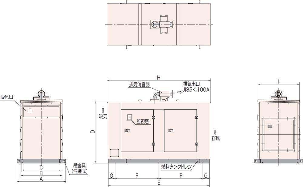 非常用発電機AP155D1屋内標準騒音タイプ