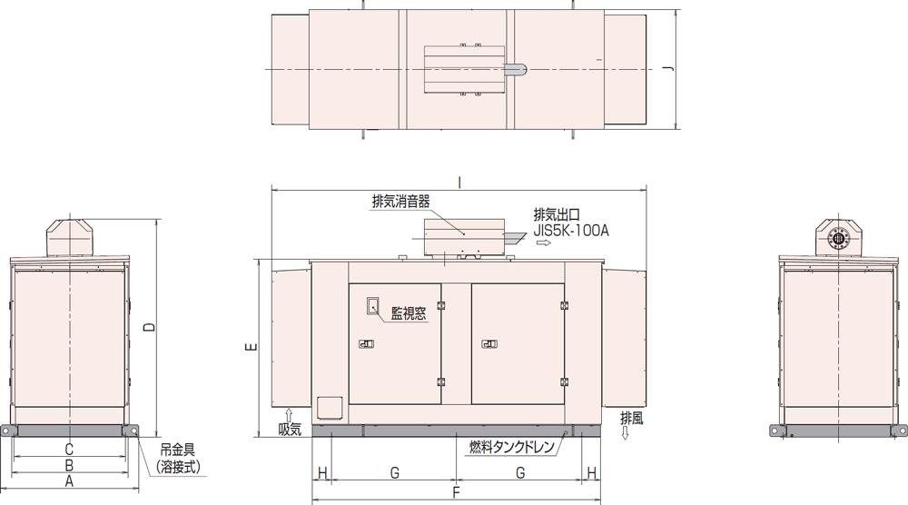 非常用発電機AP155D1屋外標準騒音タイプ
