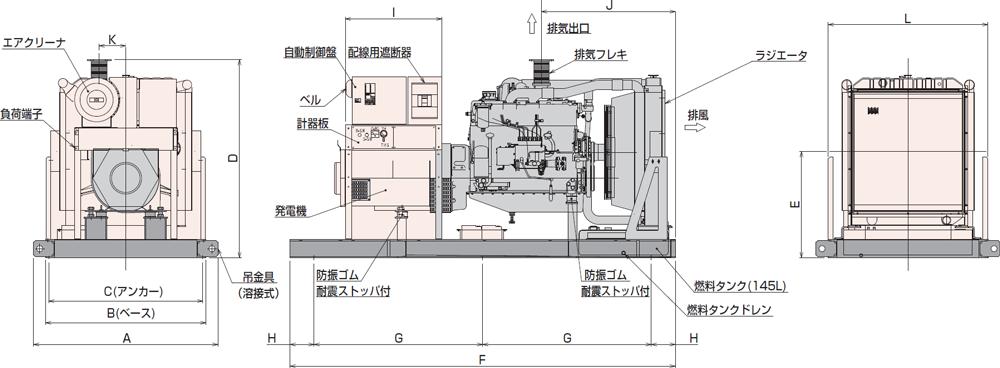 非常用発電機AP230D-280D屋内オープン型