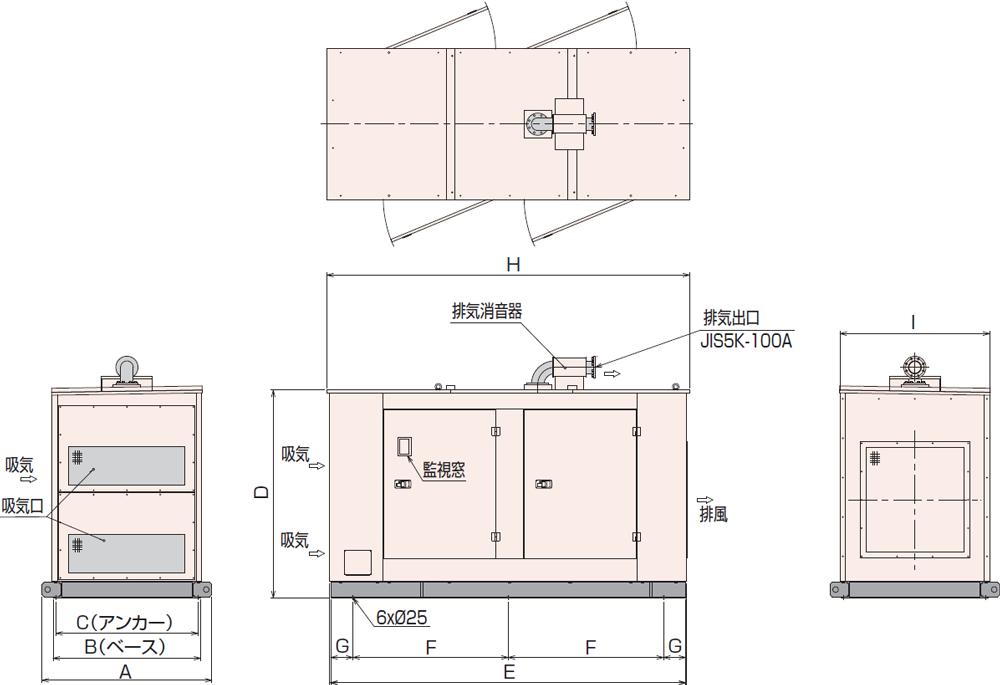 非常用発電機AP230D・280D屋内標準騒音タイプ
