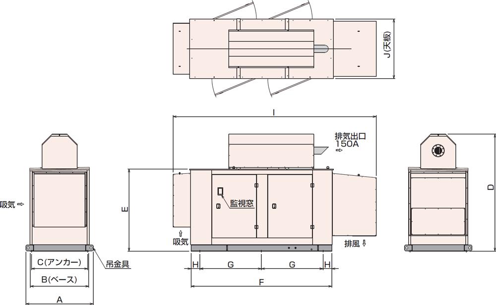 非常用発電機APAP230D・280D屋外超低騒音タイプ(約75dB(A)at1mレベル)