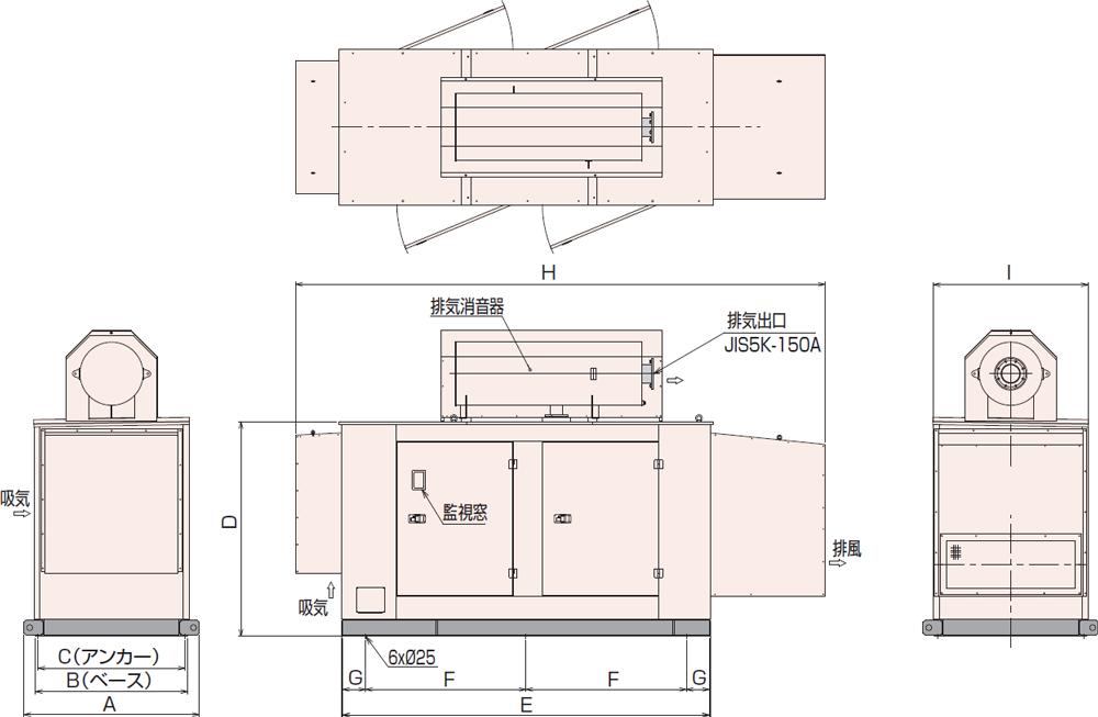 非常用発電機APAP230D・280D屋内超低騒音タイプ(約75dB(A)at1mレベル)