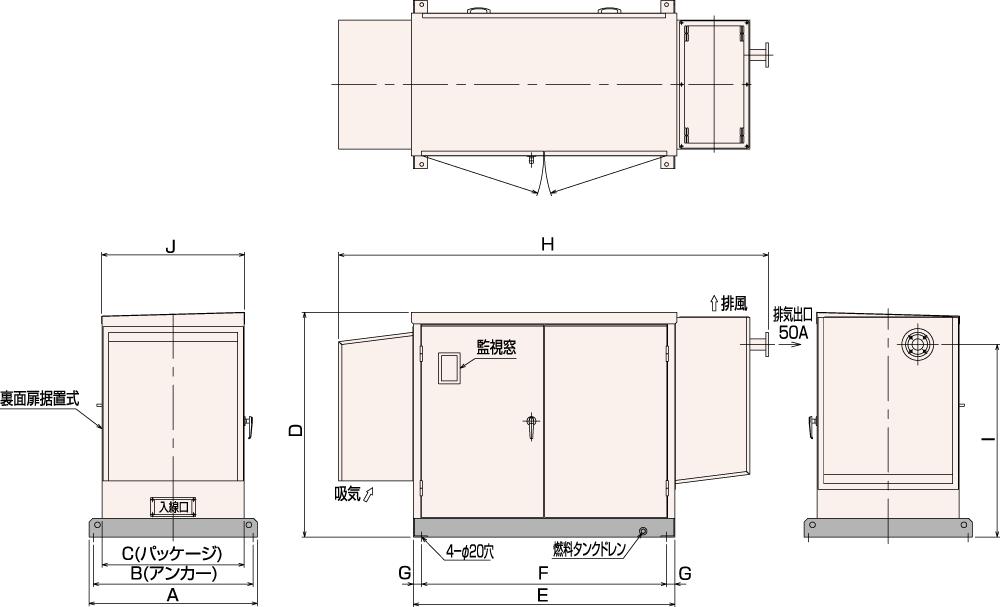 非常用発電機AP25C・35C・45C 屋内低騒音タイプ(約85dB(A)at1mレベル)