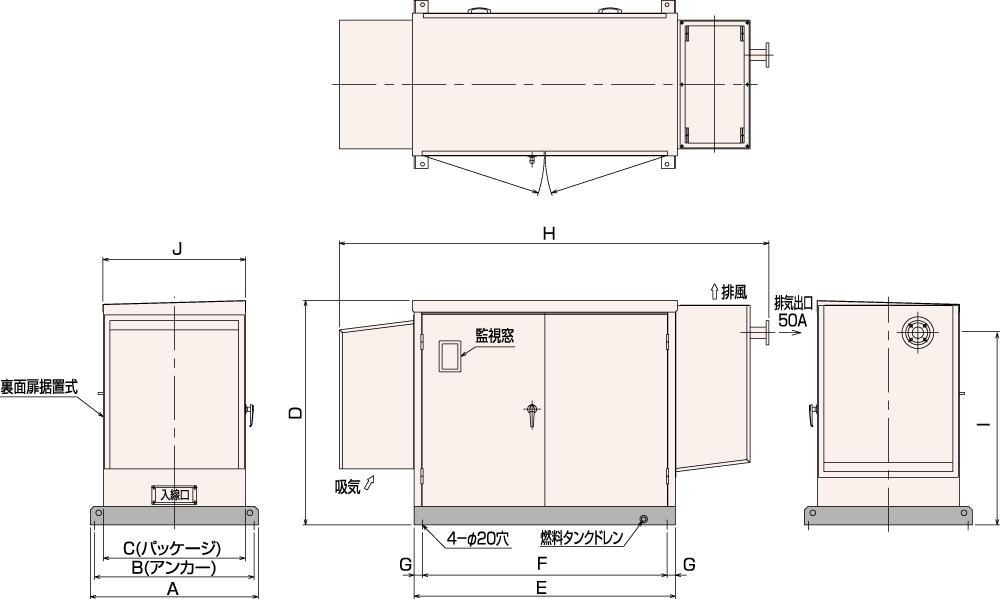 非常用発電機AP25C・35C・45C屋内超低騒音タイプ(約75dB(A)at1mレベル)