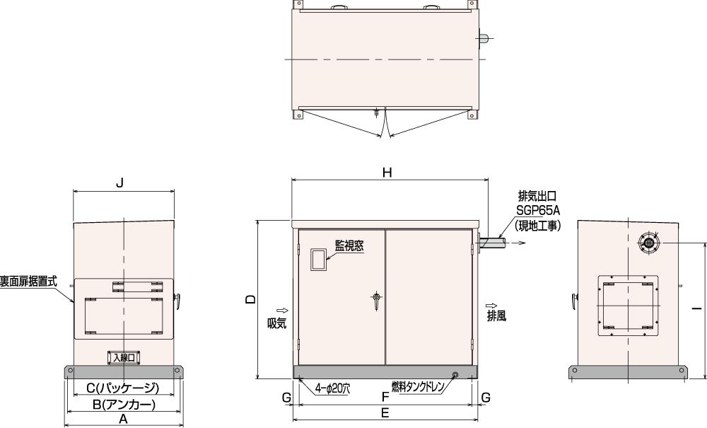 非常用発電機AP25C・35C・45C屋内標準騒音タイプ