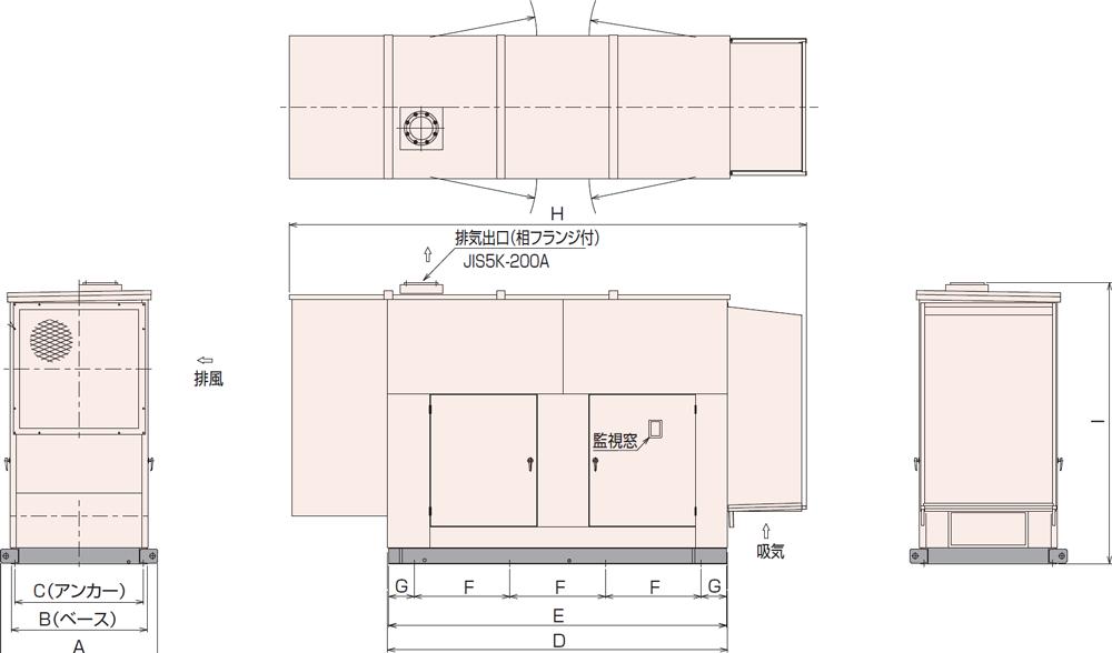 非常用発電機AP300C屋内低騒音タイプ(約85dB(A)at1mレベル)