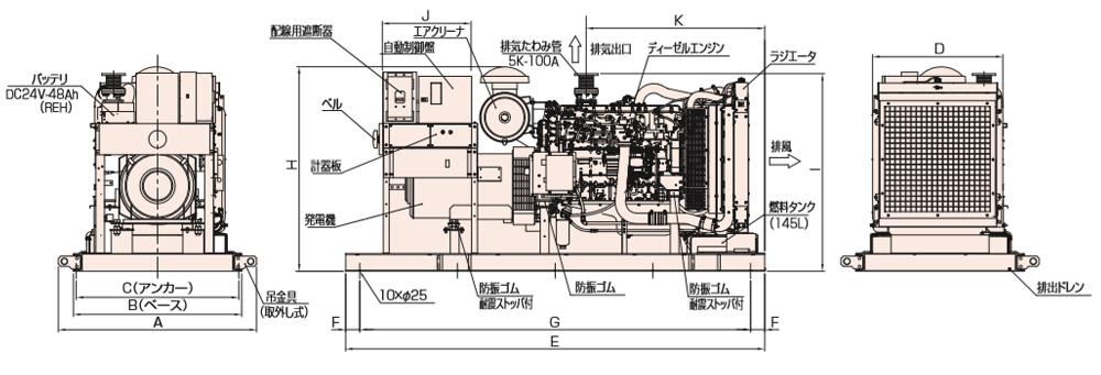 非常用発電機AP385E屋内オープン型