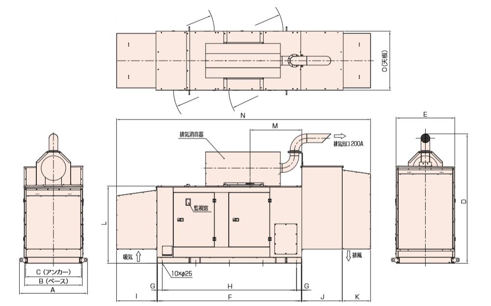 非常用発電機AP385E屋外超低騒音タイプ(約75dB(A)at1mレベル)