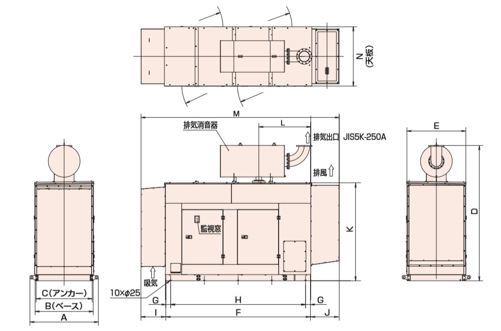 非常用発電機AP450E屋内低騒音タイプ(約85dB(A)at1mレベル)