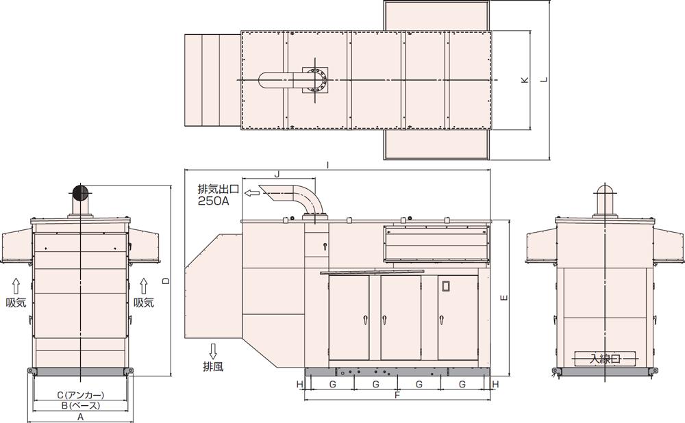 非常用発電機AP500C屋外超低騒音タイプ(約75dB(A)at1mレベル)