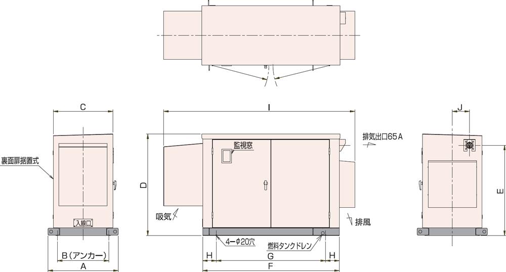 非常用発電機屋外低騒音タイプ(約85dB(A)at1mレベル)
