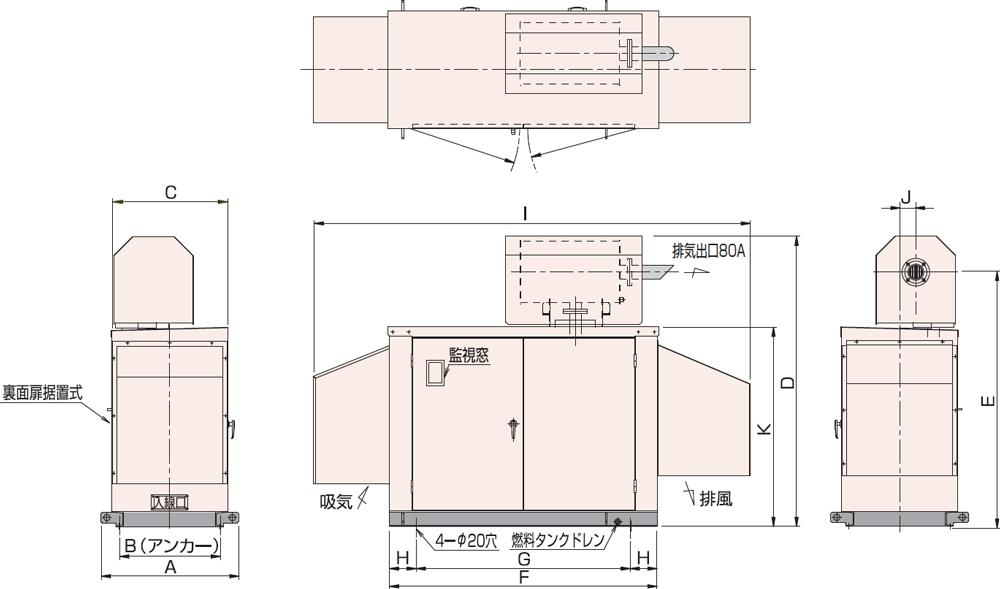 非常用発電機屋外超低騒音タイプ(約75dB(A)at1mレベル)