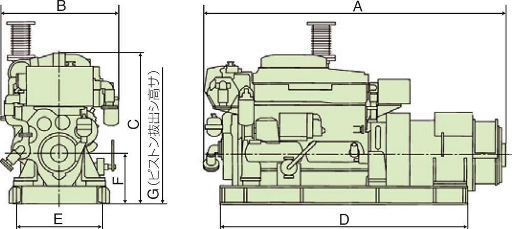 非常用発電機6HALシリーズ(50Hz用) 外形寸法