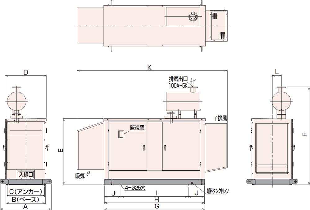 非常用発電機95C・115C屋内低騒音タイプ(約85dB(A)at1mレベル)