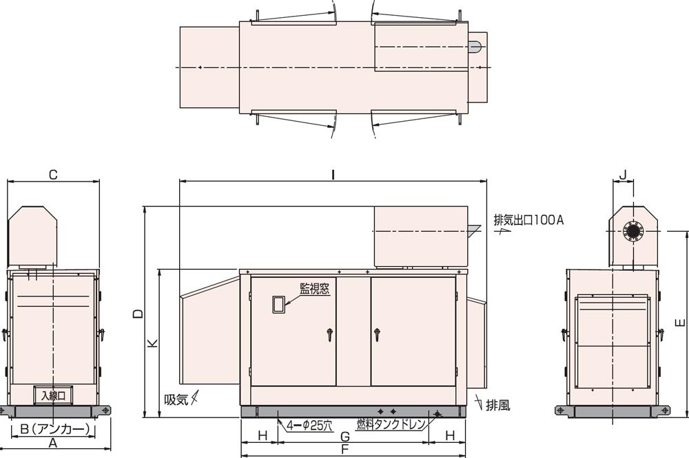 95C・115C 屋外低騒音タイプ(約85dB(A)at1mレベル)