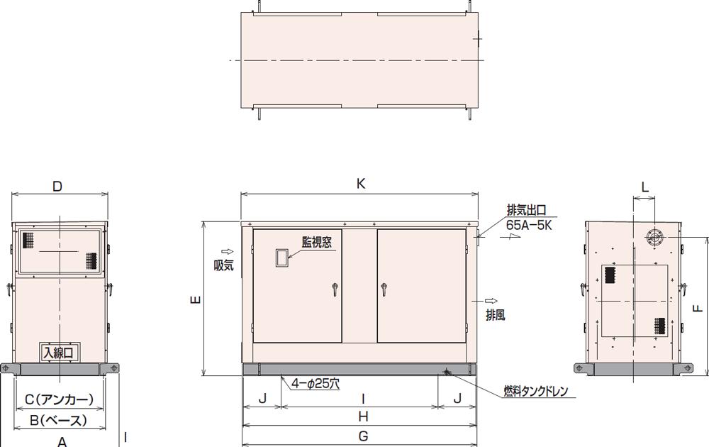 非常用発電機95C・115C屋内標準騒音タイプ