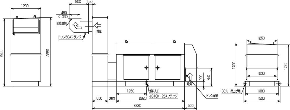 非常用発電機ガスタービンATG250/300エジェクター排気方式(屋外型)外形寸法