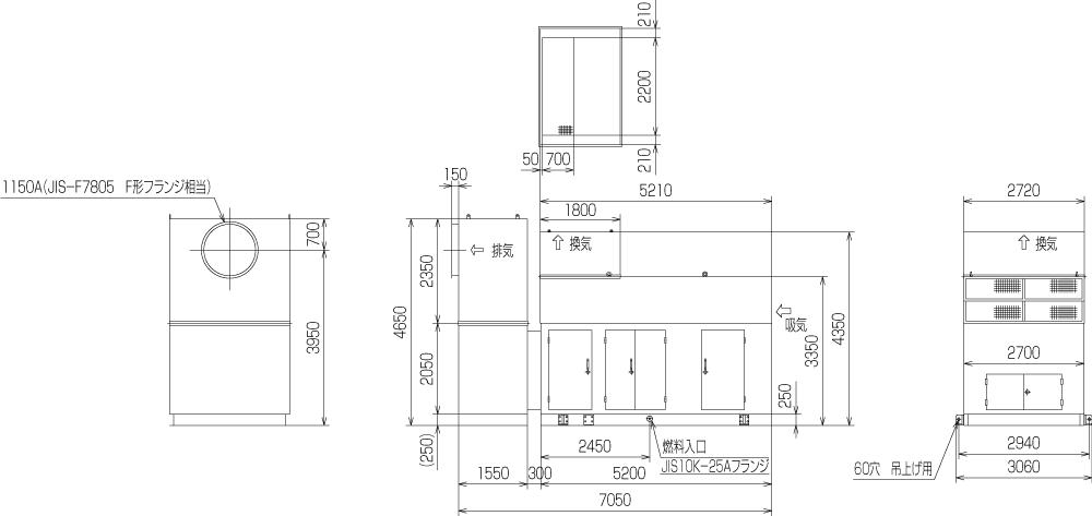 非常用発電機ガスタービンATG3000のエジェクター排気方式(屋外型)外形寸法