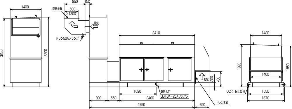 非常用発電機ガスタービンATG400/500エジェクター排気方式(屋外型)外形寸法
