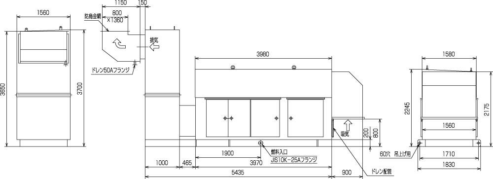 非常用発電機ガスタービンATG625/750エジェクター排気方式(屋外型)外形寸法