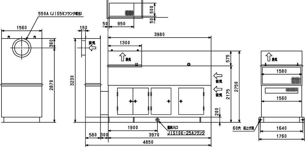 非常用発電機ガスタービンATG625/750 エジェクター排気方式(屋外型)外形寸法