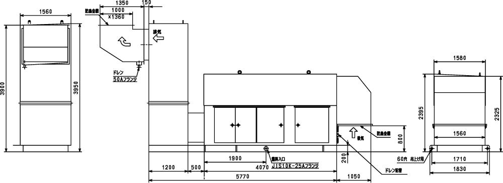 非常用発電機ガスタービンATG875/1000のエジェクター排気方式(屋外型)外形寸法