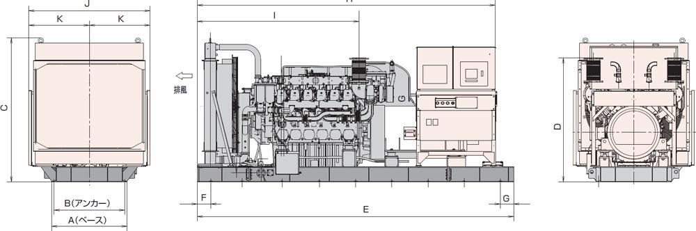 非常用発電機AY40L-1000H1屋内オープン型