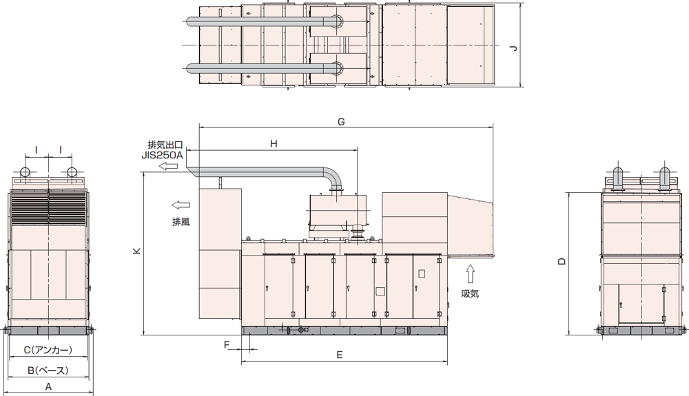 非常用発電機AY40L-1000H1屋外超低騒音タイプ(約75dB(A)at1mレベル)